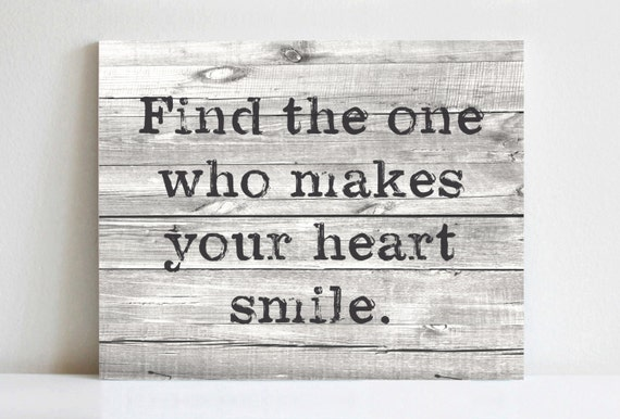 Rustic Canvas Art Find The One Who Makes Your Heart Smile Etsy