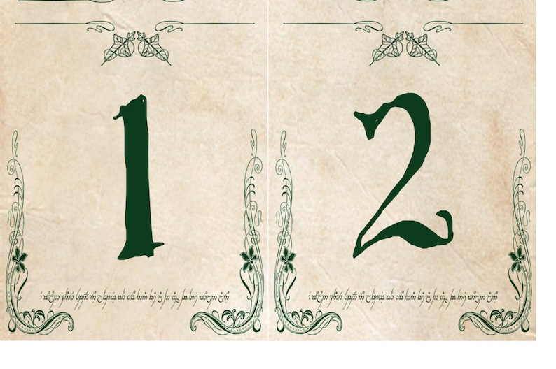 Lord of the Rings Elven Table Cards