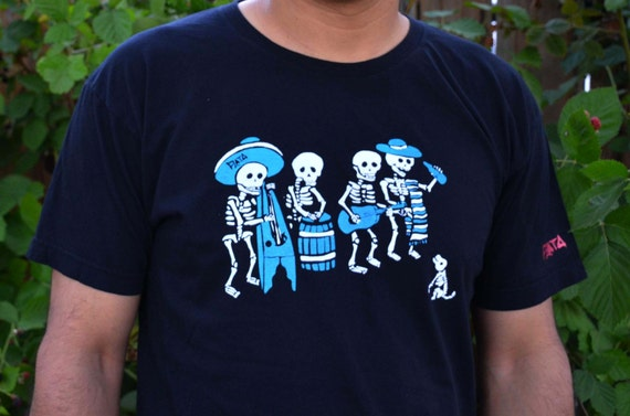 Skeleton Band T-Shirt Black Dia de los Muertos Shirt Men Skeletons Playing Music Instruments Red Ink Screen Printed Handmade California P1n8UnY96