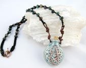 Pentagram Double Sided Potion Bottle with Fancy Jasper Beads Vessel for Oils, Ashes, Perfumes Wiccan Raku