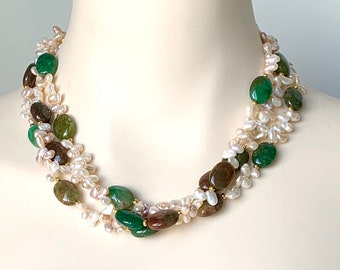 Multi Strands Pearl Necklace, Agate Gemstone Gold Necklace, Pearl Jewelry, Gemstone Jewelry, Gift Idea, Free Shipping