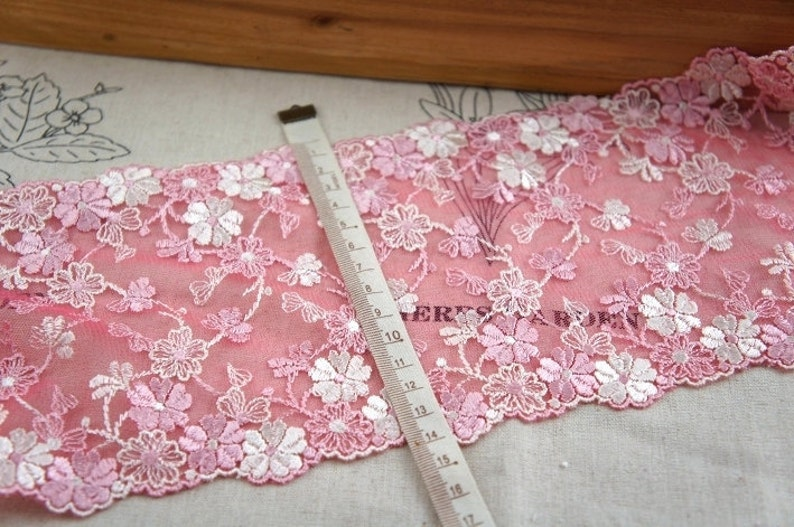 2 yards Lace trim Rosy Bilateral Embroidered Lace Trim DIY Handmade Accessory 5.5 inches wide B1179