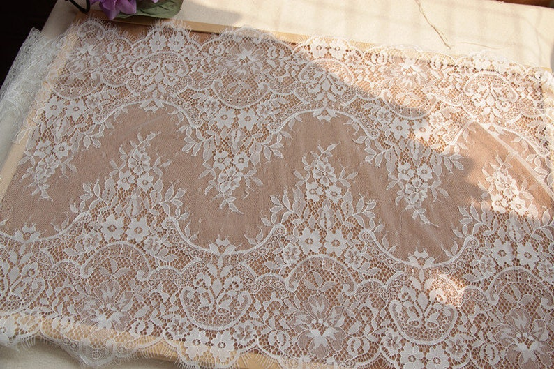 Hand Made DIY Garment Accessories Floral Embroider Lace Fabric White Eyelash Mesh Embroidery Lace 300cm 40cm