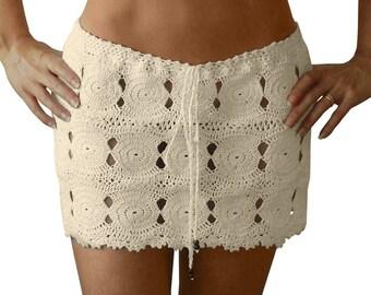 Coliumo Crochet Mini Skirt in Cream  - Spring Summer 2018 Beach Resort Bikini Swimwear Cover Up - More Colors Available - Handmade in Chile