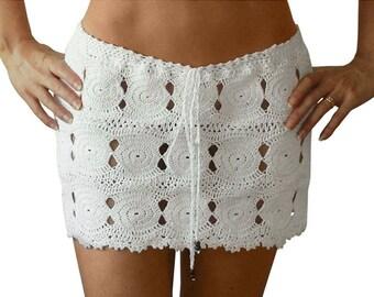 Coliumo Crochet Mini Skirt Low Rise - Spring 2018 Beach Resort Bikini Swimwear Cover Up - More Colors Available - Handmade in Chile