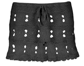 Coliumo Crochet Mini Skirt in Black  - Spring Summer 2018 Beach Resort Bikini Swimwear Cover Up - More Colors Available - Handmade in Chile