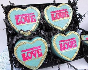 To Mom From Kids Gift SetValentines Basket GrandmaHeartfelt ParentsHeart Shaped Soap SetLove Birthday Set