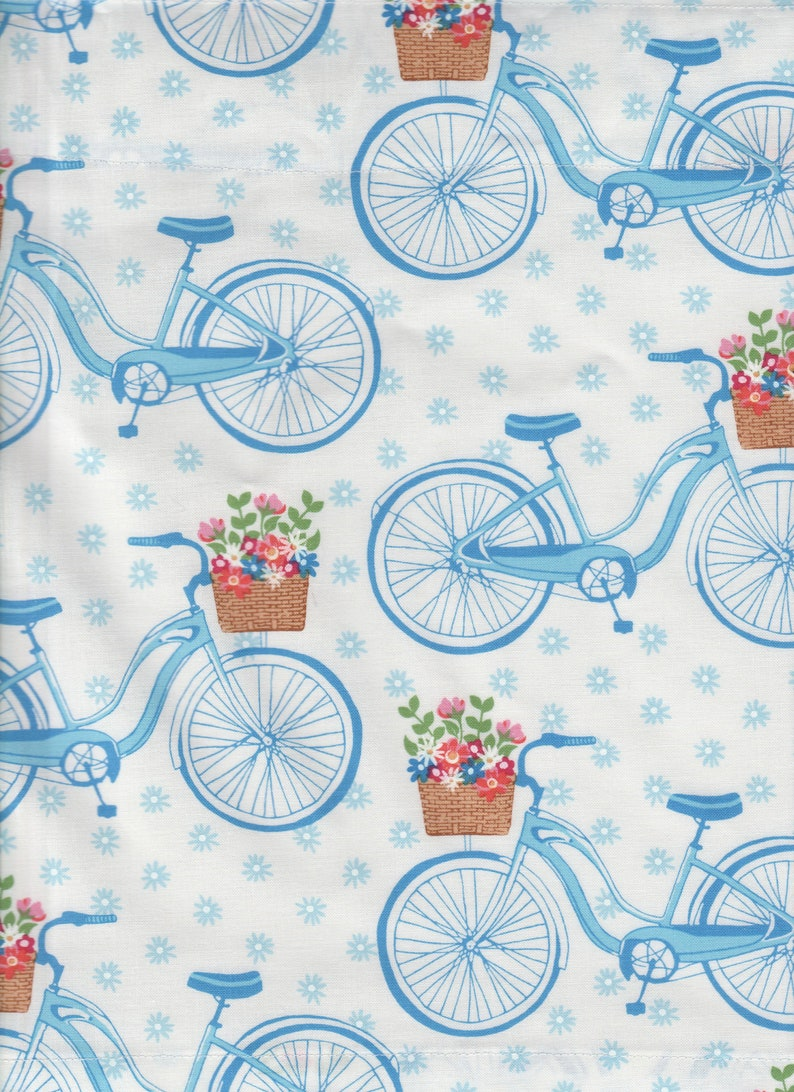 40 By 13 Blue Bike Bicycle Womans Girls Bedroom Kitchen Fabric Curtain Topper Valance Apx