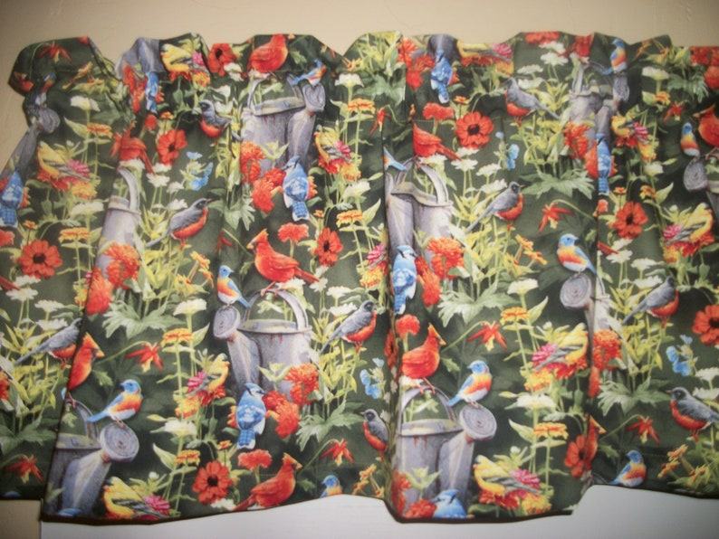 Birds Blue Jay Red Cardinal Flowers Poppy Country Kitchen Fabric Curtain Valance Curtains Window Treatments Home Living Safarni Org