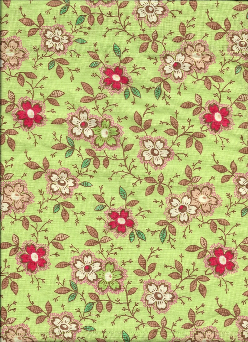 Mint Green Pink Mauve Flowers bedroom bath fabric window topper curtain Valance