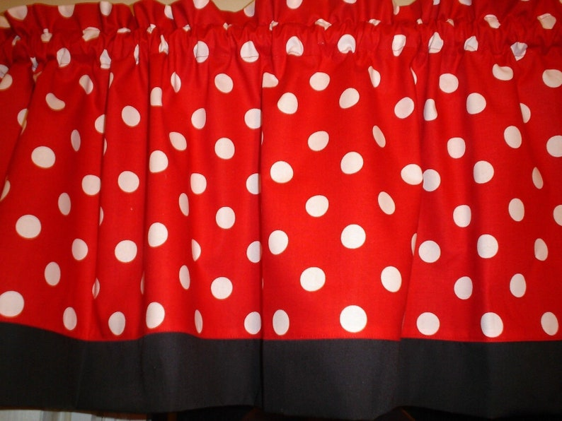 Red Black Polka Dot Mickey Minnie Mouse Kitchen Bedroom fabric curtain  topper Valance