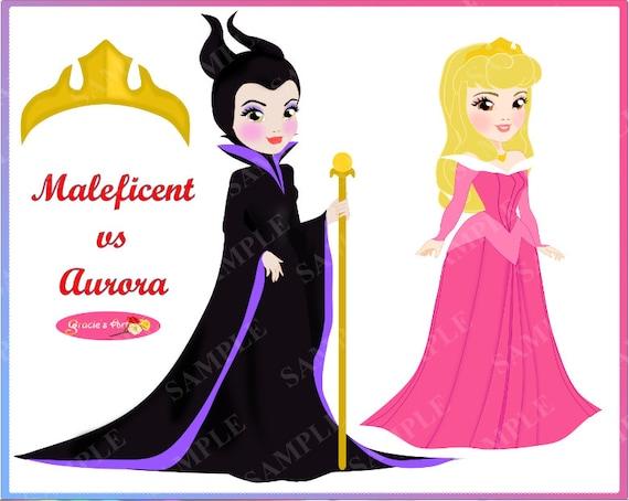 Maleficent Vs Aurora Sleeping Beauty Clipart Set Png Jpeg Format