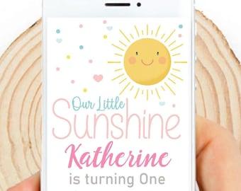 Digital Our Little Sunshine Invitation | Sunny Girl Birthday Email, text or Whatsapp Invitation | Phone Digital Invitation PK24 | E574