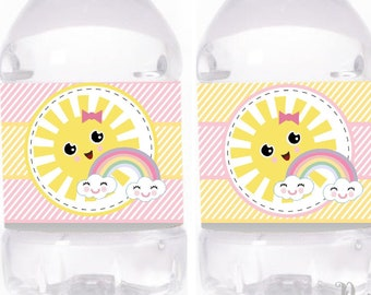 Little Sunshine Girl Birthday Water Bottle Labels | Printable Rainbow and Sun Labels Sticker | Bottle Labels | PK24 | E571