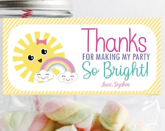 Editable Little Sunshine Bag Topper | Printable Fun Sun Label Tag | Favor Candy Bags | PK24 | E576