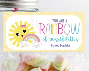 You are a Rainbow of Possibilities Bag Topper | Printable Sunshine Candy Bag Topper | Rainbow School or Party Favor | PK24 | E390