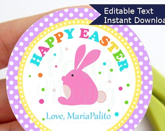 Editable Easter Tag , Printable Party Favor Sticker, Cute Some-Bunny Special Tag, Round or Square Topper, Instant Download -D857 HOEA1