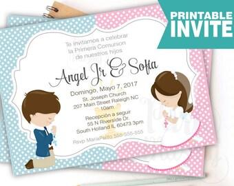 Printable Invitación Primera Comunión, Niño y Niña, Invitación Imprimible, Gemelos, Mellizos,Printable First Communion Invite COM1 -D868
