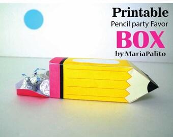 Pencil printable Box, Printable Party Favor Gift Box, Back to school Box, Teacher Appreciation Box, Back to school D093 HOTE1