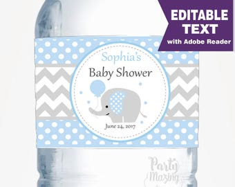 Blue Elephant Water Bottle Wrappers, Editable Water Bottle stickers, Instant download-D106 BBEB1