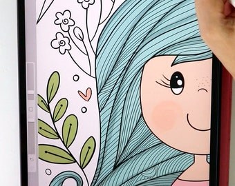 Whimsical Digital Coloring Page | Procreate or Ipad Coloring Sheet  | Adult Coloring to Calm and relieve Anxiety | PK28 | E540