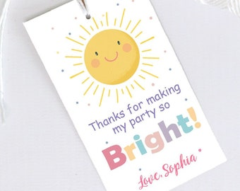 Editable Bright Party Favor Tags | Printable Thank You Tag | Pastel Little Sunshine Birthday Gift Tag Template | PK24 | E573