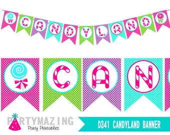 image about Candyland Letters Printable identified as Candyland decorations Etsy