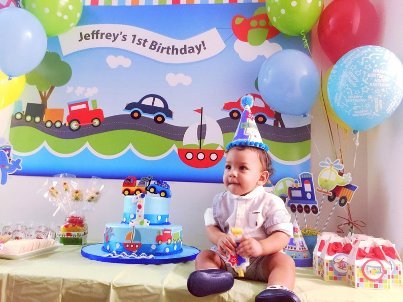 Printable Personalized Birthday Transportation Backdrop for a image 0