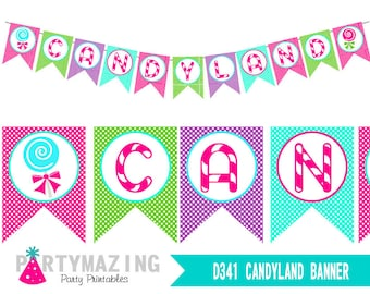 Candyland Banner, Printable Birthday Banner, Sweet Shoppe, Lollipop Party, party Decor Sign, Instant Download  HBCL1-D341