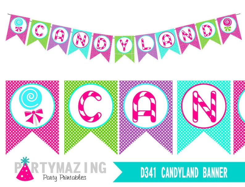 photo regarding Candyland Letters Printable called Printable Candyland Banner for your Woman Birthday Adorable Shoppe or Lollipop Get together Decor HBCL1 E173