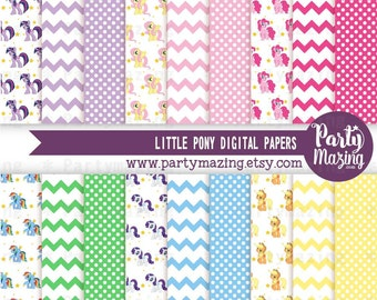 Rainbow Pony Digital Paper Pack, Scrapbook Background Paper, Chevron Polka, Dot Background, Stripe, Cardmaking Printable Paper -D847