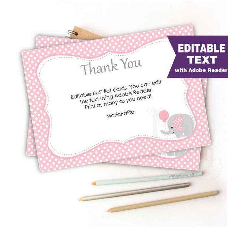 photo relating to Free Printable Baby Shower Thank You Cards identified as Editable Red Elephant Thank On your own Notice Playing cards for Kid shower Thank your self Notes  E174