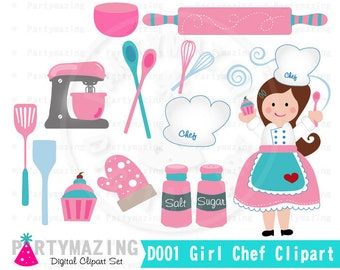 Chef Clipart, Baking Clipart Set, Clip Art Graphic, Instant Download -D001