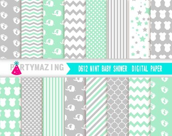 Mint Digital Paper Pack, 16 Elephant Scrapbook Background Paper, Chevron Polka, Dot Background, Stripe, Cardmaking Printable Paper- D612