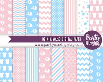 Gender Reveal Digital Paper Pack, Pink and Blue, 16 Elephant Scrapbook Background Paper, Chevron Cardmaking Printable Paper-  D625