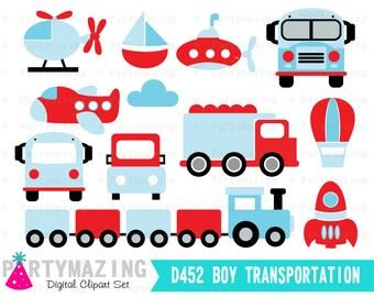 Transportation Clipart Set, Clip Art Graphic, Instant Download -D452