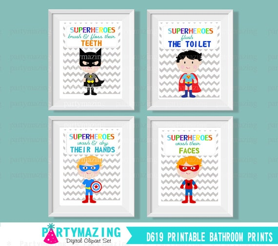 Printable Kids Bathroom Rules Art Wash Brush Floss Flush Set Of Amazing Bathroom Clipart Set