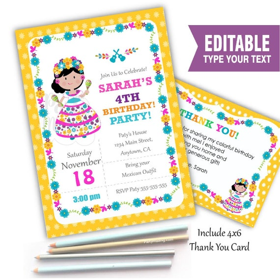 printable coco invitation editable mexican girl invite birthday