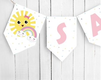 Editable Little Sunshine Flag Banner Garland | 1st First Birthday Pink Happy Sun Banner | PK24 | E570