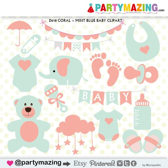 baby stuff clipart baby shower clipart coral and mint teddy rh etsy com baby boy stuff clipart free baby stuff clipart
