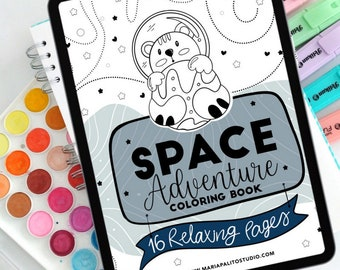 16 Page Space ADVENTURE Digital Coloring Book | printable or Ipad Use with Procreate Coloring Pages | PK21 | 522-1
