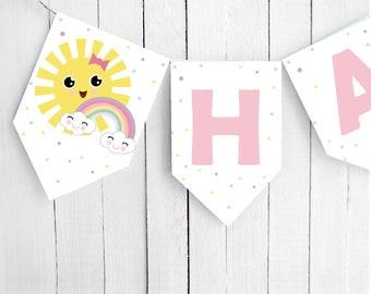 Little Sunshine Happy Birthday Flag Banner Garland | Girl Birthday Pink Happy Sun Banner | PK24 | E575