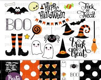Halloween ClipArt Set, Cute Halloween Instant Download -D766 HOHW1