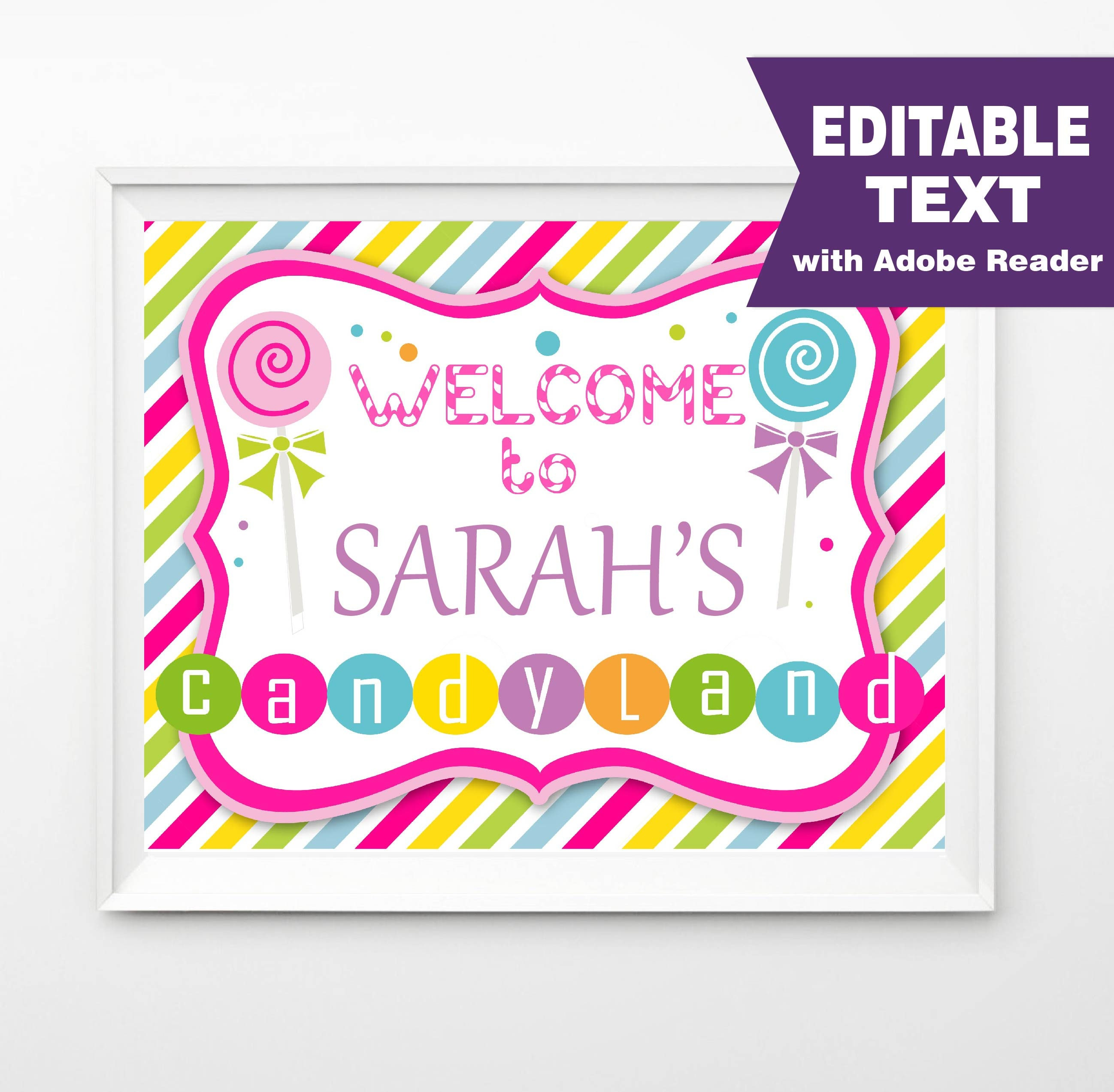editable candyland party sign welcome sign candyland