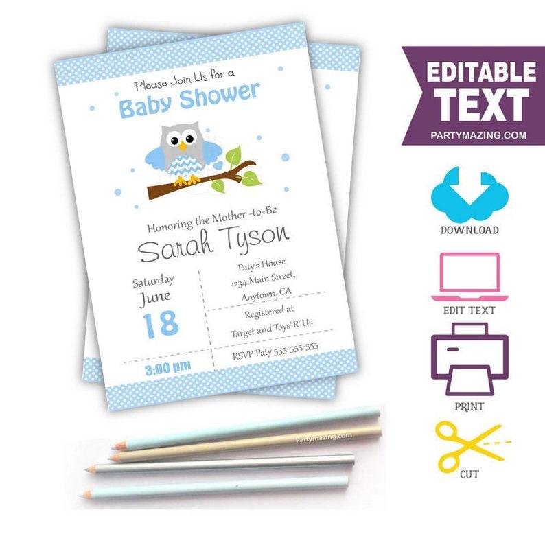 Editable Blue Owl Invitation for your Modern Boy Baby Shower image 0
