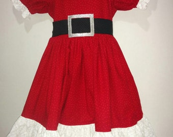 7441fdfa1d7 Baby Infant Toddler Girls Christmas Santa Mrs. Claus Cotton Boutique Dress  Outfit! Perfect for Pictures Party Dance! 6 12 2 3 4 5 6 7 8