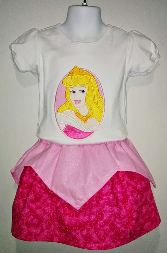 660e738c9cd Princess Aurora Sleeping Beauty Boutique Birthday Party Twirl Twirly Skirt  Embroidered Shirt TShirt Set Outfit! Sizes 2