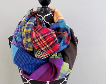 Patchwork Plaid Infinity Scarf, One of a Kind Colorful Plaid Flannel Patch Scarf, Unique Scarves, Gift for Her Quilt Scarf