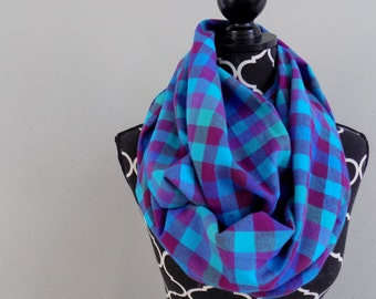 Dendrobium Orchid Plaid Infinity Scarf, Turquoise Scarves, Pink Plaid Scarf, Chunky Plaid Scarf, Fashion Scarf, Unique Scarves, Womens Scarf