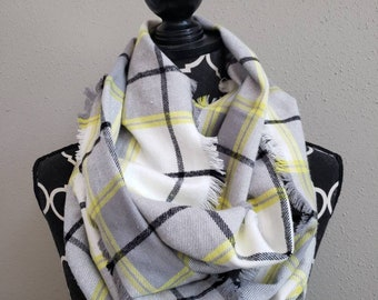 Ray of Sunshine Fringed or Hemmed Plaid Flannel Infinity Scarf Classic Plaid Scarves Womens Yellow Plaid Circle Scarf Girls Fall Plaid
